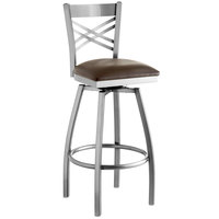 Lancaster Table & Seating Clear Coat Steel Cross Back Bar Height Swivel Chair with 2 1/2 inch Dark Brown Vinyl Seat
