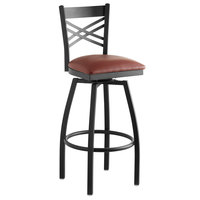 Lancaster Table & Seating Cross Back Bar Height Black Swivel Chair with Burgundy Vinyl Seat