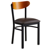 Lancaster Table & Seating Boomerang Black Chair with Dark Brown Vinyl Seat and Cherry Back