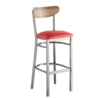Lancaster Table & Seating Boomerang Bar Height Clear Coat Chair with Red Vinyl Seat and Driftwood Back