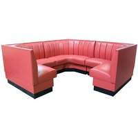 American Tables & Seating AS-366-3/4 6 Channel Back Upholstered Corner Booth 3/4 Circle - 36 inch High