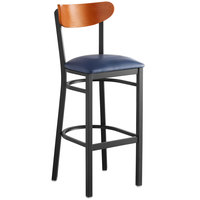 Lancaster Table & Seating Boomerang Bar Height Black Chair with Navy Vinyl Seat and Cherry Back