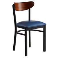 Lancaster Table & Seating Boomerang Black Chair with Navy Vinyl Seat and Antique Walnut Back