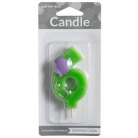 Creative Converting 104206 3 inch Green 6 inch Birthday Candle with Purple Balloon