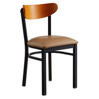 Lancaster Table & Seating Boomerang Black Chair with Light Brown Vinyl Seat and Cherry Back