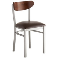 Lancaster Table & Seating Boomerang Clear Coat Chair with Dark Brown Vinyl Seat and Antique Walnut Back