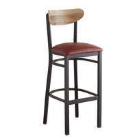 Lancaster Table & Seating Boomerang Bar Height Black Chair with Burgundy Vinyl Seat and Driftwood Back