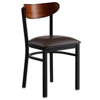 Lancaster Table & Seating Boomerang Black Chair with Dark Brown Vinyl Seat and Antique Walnut Back