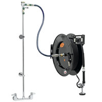 Equip by T&S 5HR-242-01XE1 50' Open Hose Reel System with Wall Mount Base Faucet, Multi-Fit Wall Bracket, and High Flow Spray Valve