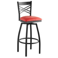 Lancaster Table & Seating Cross Back Bar Height Black Swivel Chair with Red Vinyl Seat
