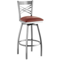 Lancaster Table & Seating Clear Coat Steel Cross Back Bar Height Swivel Chair with 2 1/2 inch Burgundy Vinyl Seat
