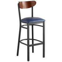 Lancaster Table & Seating Boomerang Bar Height Black Chair with Navy Vinyl Seat and Antique Walnut Back