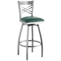Lancaster Table & Seating Clear Coat Steel Cross Back Bar Height Swivel Chair with 2 1/2 inch Green Vinyl Seat