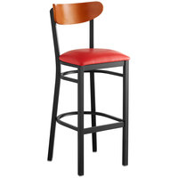 Lancaster Table & Seating Boomerang Bar Height Black Chair with Red Vinyl Seat and Cherry Back