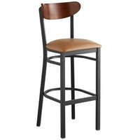 Lancaster Table & Seating Boomerang Bar Height Black Chair with Light Brown Vinyl Seat and Antique Walnut Back