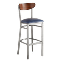 Lancaster Table & Seating Boomerang Bar Height Clear Coat Chair with Navy Vinyl Seat and Antique Walnut Back