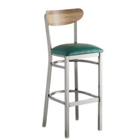 Lancaster Table & Seating Boomerang Bar Height Clear Coat Chair with Green Vinyl Seat and Driftwood Back