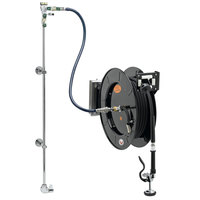 Equip by T&S 5HR-242-01WE2 50' Open Hose Reel System with Single Temperature Wall Mount Base Faucet, Swing Wall Bracket, and High Flow Spray Valve