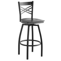 Lancaster Table & Seating Cross Back Bar Height Black Swivel Chair with Black Wood Seat