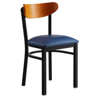 Lancaster Table & Seating Boomerang Black Chair with Navy Vinyl Seat and Cherry Back