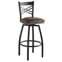 Lancaster Table & Seating Cross Back Bar Height Black Swivel Chair with Dark Brown Vinyl Seat