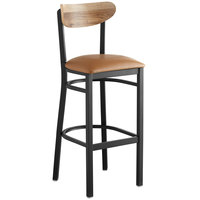 Lancaster Table & Seating Boomerang Bar Height Black Chair with Light Brown Vinyl Seat and Driftwood Back