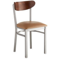 Lancaster Table & Seating Boomerang Clear Coat Chair with Light Brown Vinyl Seat and Antique Walnut Back