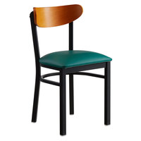 Lancaster Table & Seating Boomerang Black Chair with Green Vinyl Seat and Cherry Back