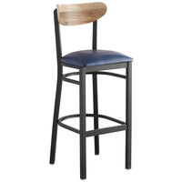 Lancaster Table & Seating Boomerang Bar Height Black Chair with Navy Vinyl Seat and Driftwood Back