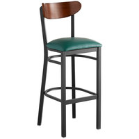 Lancaster Table & Seating Boomerang Bar Height Black Chair with Green Vinyl Seat and Antique Walnut Back