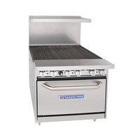 Bakers Pride 36-BP-0B-BROLR36-S30 Restaurant Series Natural Gas 6 Burner Charbroiler with 30 inch Oven - 280,000 BTU