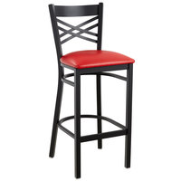 Lancaster Table & Seating Cross Back Bar Height Black Chair with Red Vinyl Seat