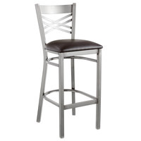 Lancaster Table &amp&#x3b; Seating Clear Coat Steel Cross Back Bar Height Chair with 2 1/2 inch Dark Brown Vinyl Seat