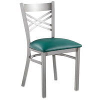 Lancaster Table & Seating Clear Coat Steel Cross Back Chair with 2 1/2 inch Green Vinyl Seat