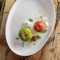 Oneida R4220000376 Royale 13 5/8 inch x 9 1/4 inch Bright White Porcelain Winged Platter - 12/Case