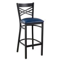 Lancaster Table & Seating Cross Back Bar Height Black Chair with Navy Vinyl Seat