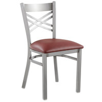 Lancaster Table & Seating Clear Coat Steel Cross Back Chair with 2 1/2 inch Burgundy Vinyl Seat