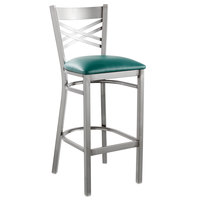 Lancaster Table & Seating Clear Coat Steel Cross Back Bar Height Chair with 2 1/2 inch Green Vinyl Seat