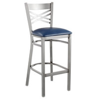 Lancaster Table & Seating Clear Coat Steel Cross Back Bar Height Chair with 2 1/2 inch Navy Vinyl Seat