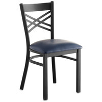 Lancaster Table & Seating Cross Back Black Chair with Navy Vinyl Seat