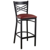 Lancaster Table & Seating Cross Back Bar Height Black Chair with Burgundy Vinyl Seat