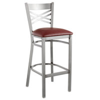 Lancaster Table &amp&#x3b; Seating Clear Coat Steel Cross Back Bar Height Chair with 2 1/2 inch Burgundy Vinyl Seat