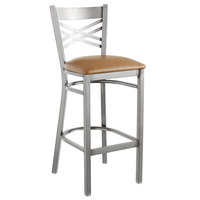 Lancaster Table & Seating Clear Coat Steel Cross Back Bar Height Chair with 2 1/2 inch Light Brown Vinyl Seat