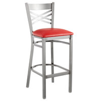 Lancaster Table & Seating Clear Coat Steel Cross Back Bar Height Chair with 2 1/2 inch Red Vinyl Seat