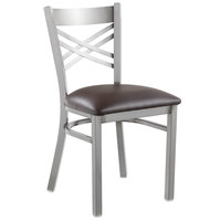 Lancaster Table & Seating Clear Coat Steel Cross Back Chair with 2 1/2 inch Dark Brown Vinyl Seat