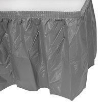 Creative Converting 339643 14' x 29 inch Glamour Gray Plastic Table Skirt