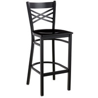 Lancaster Table & Seating Cross Back Bar Height Black Chair with Black Wood Seat
