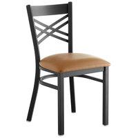 Lancaster Table & Seating Cross Back Black Chair with Light Brown Vinyl Seat