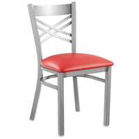 Lancaster Table & Seating Clear Coat Steel Cross Back Chair with 2 1/2 inch Red Vinyl Seat