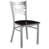Lancaster Table & Seating Clear Coat Steel Cross Back Chair with Black Wood Seat